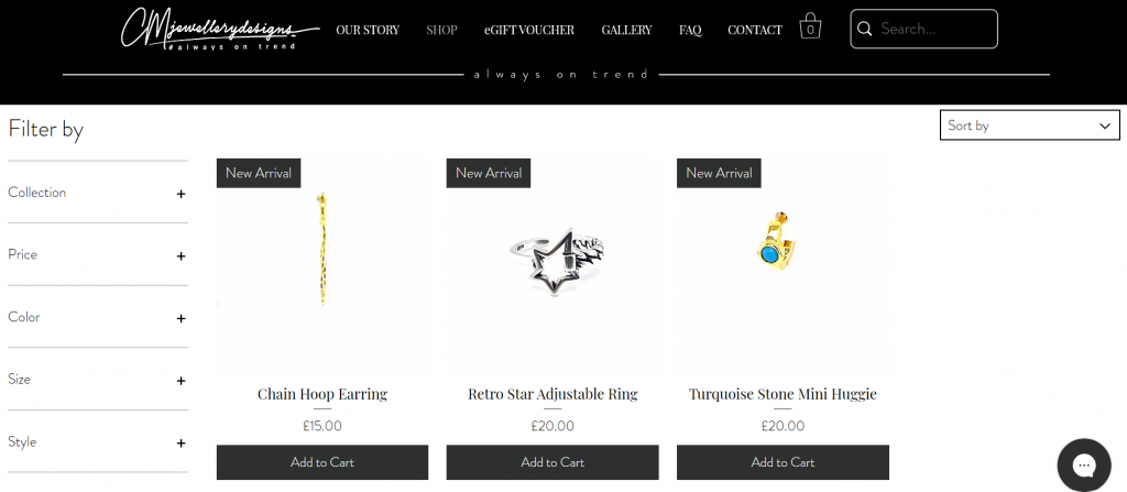 Ecommerce-wix-website-for-jewellery-business-with-easy-navigation