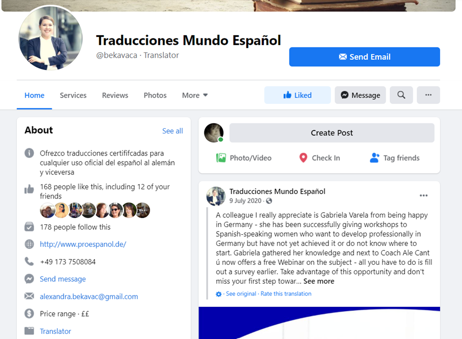 Translator-Facebook-business-page-example