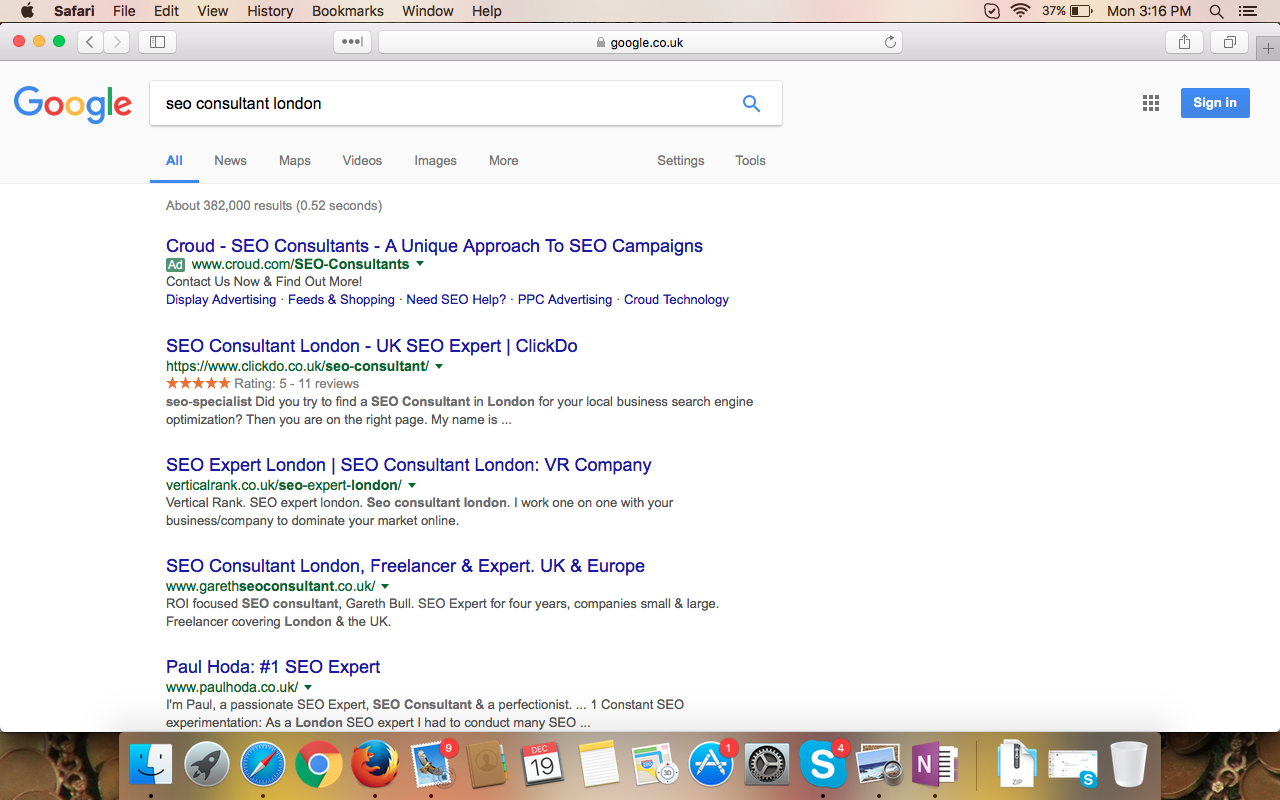seo consultant london ranking screenshot