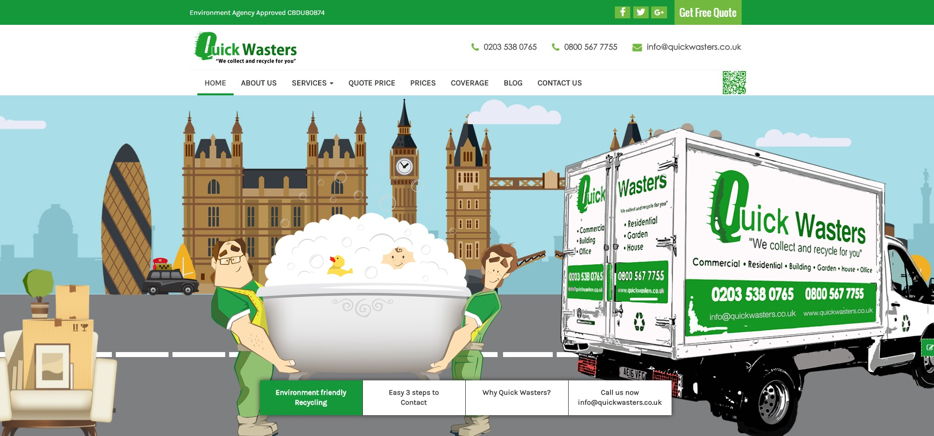 Quick Wasters Ltd. New Website Design by ClickDo