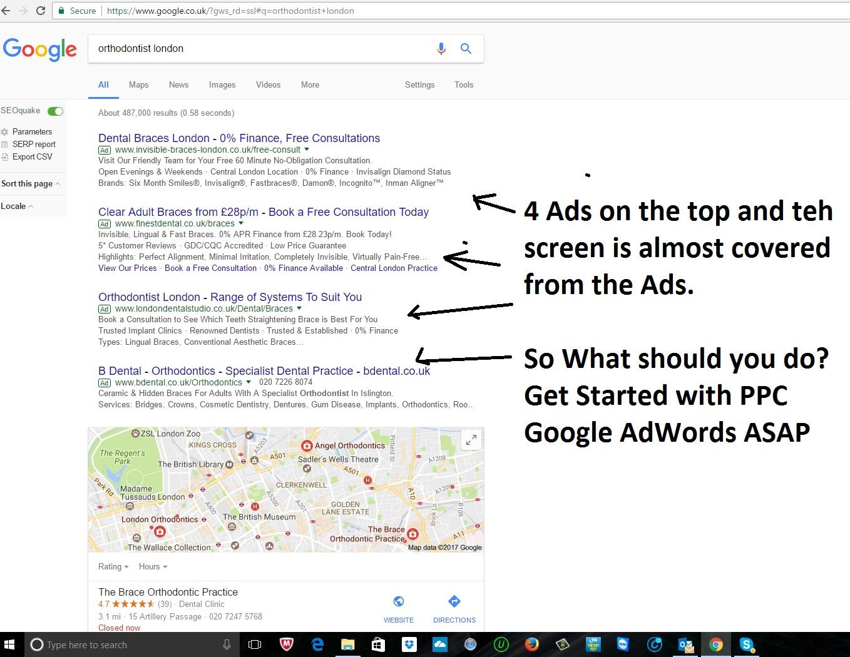 Google ads on SERPs