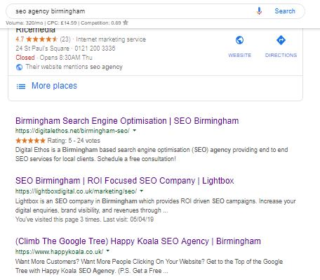 happy koala rankings for seo agency birmingham