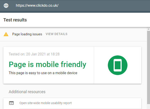 Googe page experience - Mobile friendly test