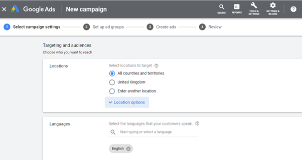 Google AdWords Language setup