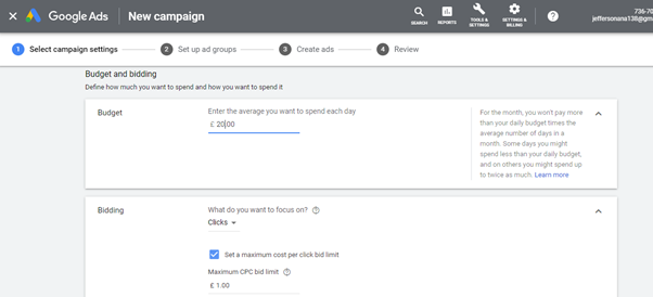 Google Adwords Budget setting page