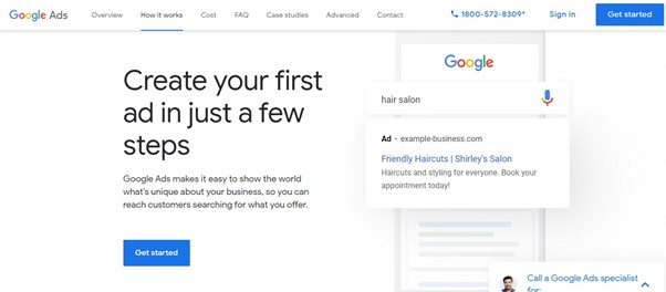Google Adwords sign up page