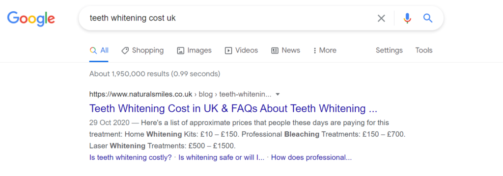 """Ranking #1 for """"teeth whitening cost uk"""" with sitelinks"""