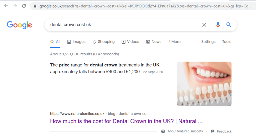 """Ranking in featured snippet for """"dental crown cost uk"""""""