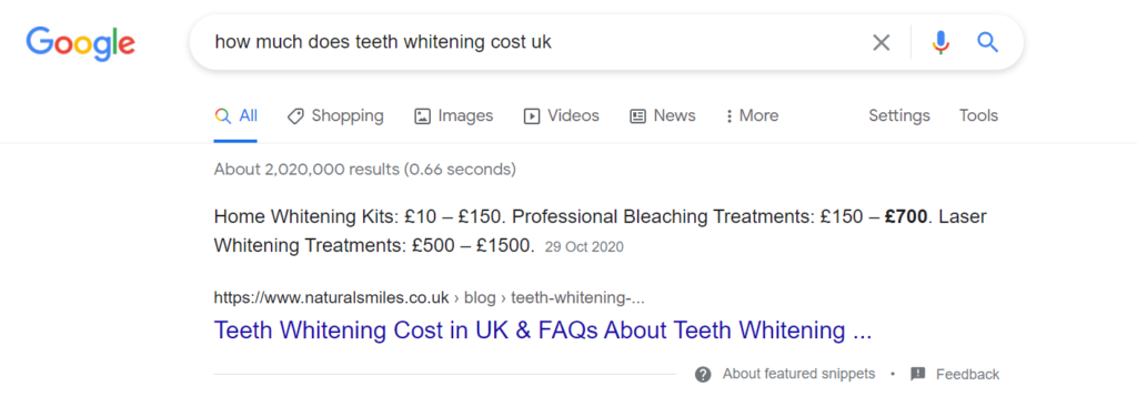"""Ranking in featured snippet for """"how much does teeth whitening cost"""""""