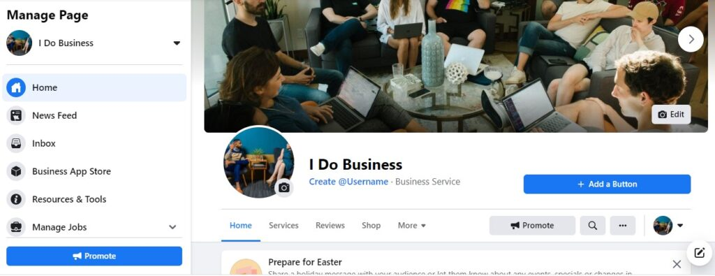 social media business page