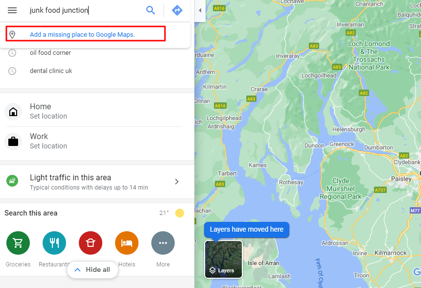 add missing place on Google Map listing