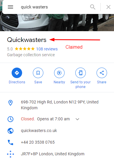 claimed business listing