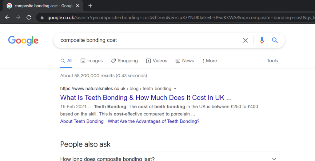 natural smiles ranking for composite bonding cost