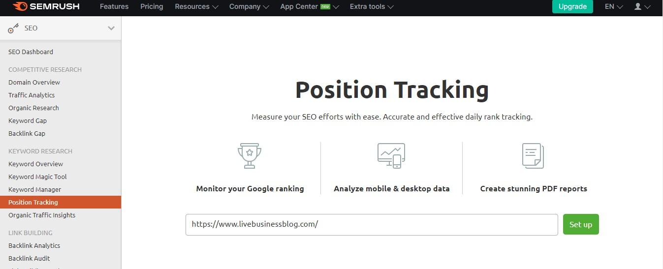 keyword position tracking SEMRUSH